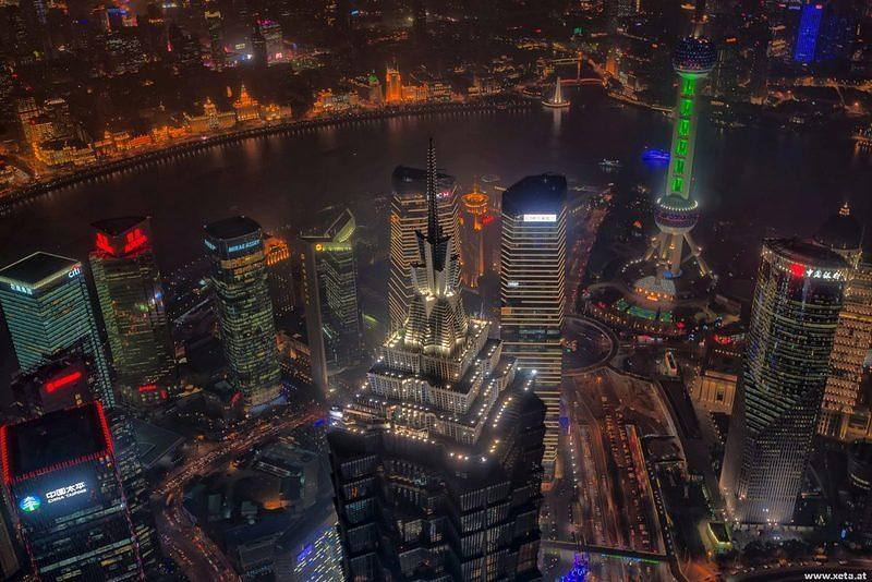 DSK HDR China Volksrepublik China Shanghai Bund Shanghai World Financial Center Jin Mao Tower Pudong Huangpu Jiang Flaschenoeffner