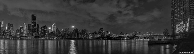 DSK 9101titch BW USA Skyline Eastcoast Long Island New York State Gantry Plaza State Park Hunters Point Manhattan New York City Queens Manhattan Bridge Pepsi Sign Ostkueste
