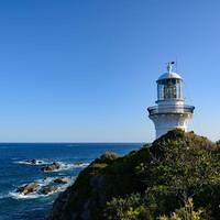 DSN 7859 Strand Australien New South Wales Myall Lakes National Park Sugarloaf Point Lighthouse