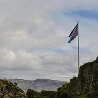 DSM 10085 Iceland Island Golden Circle Pingvellir Thingvellir Thingvellir National Park Flagge