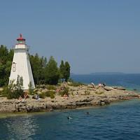DSH 2476 Ontario Kanada Leuchtturm Tobermory Fathom Five National Marine Park Big Tub Harbour Big Tub Lighthouse Georgian Bay Lake Huron Huronensee